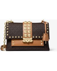 Michael Kors Cece Medium Studded Logo And Leather Convertible Shoulder Bag - Brown