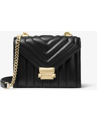 MICHAEL Michael Kors Whitney Small Quilted Leather Convertible Shoulder Bag - Black