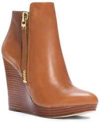Michael Kors Clara Leather Wedge Ankle Boot - Brown
