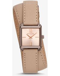 Michael Kors - Lake Sable-tone And Leather Wrap Watch - Lyst