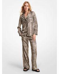 Michael Kors Embellished Snake Crushed Crepe Pajama Pants - Multicolor