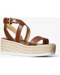 Michael Kors Lowry Leather Wedge Sandal - Brown