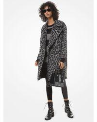 Michael Kors Leopard Jacquard Cocoon Coat - Multicolor