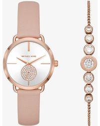 Michael Kors - Portia Rose Gold-tone Watch And Bracelet Set - Lyst