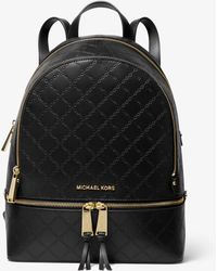 Michael Kors Rhea Medium Chain-embossed Leather Backpack