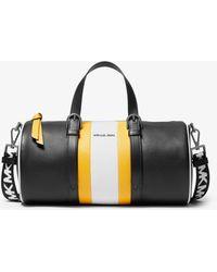 Michael Kors Stanton Large Striped Pebbled Leather Barrel Bag - Black