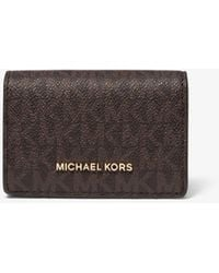 Michael Kors Jet Set Small Logo And Leather Wallet - Multicolour