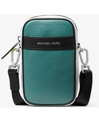 Michael Kors Borsa a tracolla Greyson per smartphone in pelle color block con logo - Verde