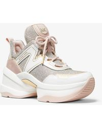 Michael Kors Sneaker Olympia in pelle e mesh metallico glitterato - Multicolore