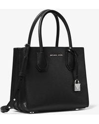 Michael Kors Mercer Pebbled Leather Accordion Crossbody Bag - Black