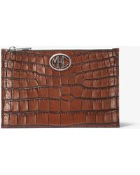 Michael Kors - Monogramme Crocodile-embossed Leather Pouch - Lyst