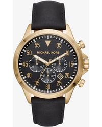 Michael Kors - Gage Gold-tone And Leather Watch - Lyst