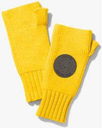 Michael Kors Logo Patch Ribbed Nylon-blend Fingerless Gloves - Yellow