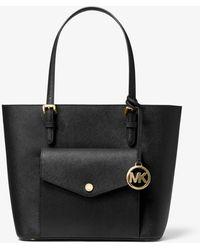Michael Kors Jet Set Medium Saffiano Leather Pocket Tote Bag - Black