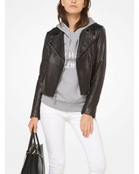 Michael Kors - Leather Moto Jacket - Lyst