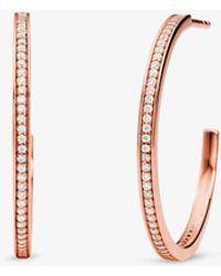 Michael Kors Precious Metal-plated Sterling Silver Pavé Hoop Earrings - Metallic