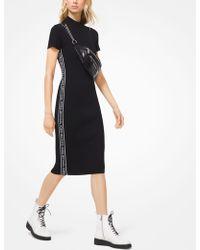 Michael Kors Logo Tape Ribbed Knit Dress - Black