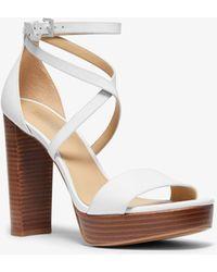 Michael Kors Charlize Leather Platform Sandal - White