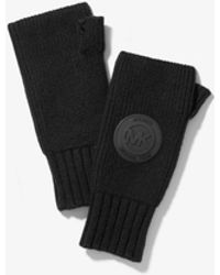 Michael Kors Logo Patch Ribbed Nylon-blend Fingerless Gloves - Black