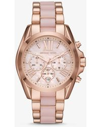 Michael Kors Oversized Bradshaw Rose Gold-tone And Acetate Watch - Multicolor