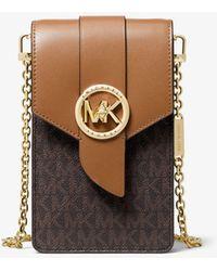 Michael Kors Small Logo And Leather Smartphone Crossbody Bag - Brown
