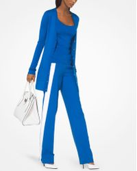 Michael Kors Featherweight Tropical Cashmere Pullover - Blue