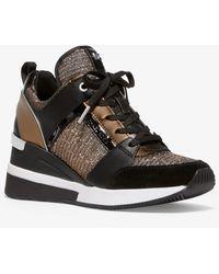 Michael Kors Georgie Chain-mesh And Leather Sneaker - Black