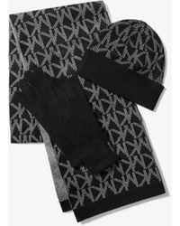Michael Kors Logo Jacquard Cold Weather Accessory Set - Black