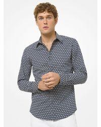 Michael Kors Logo Link Stretch Cotton Shirt - Blue