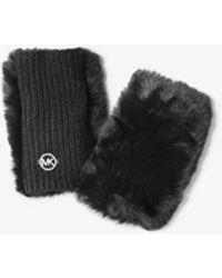 Michael Kors Faux Fur Fingerless Gloves - Black