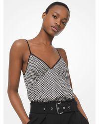 Michael Kors Checkerboard Logo Silk-twill Camisole - Black