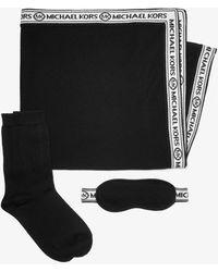 Michael Kors Logo Tape Knit Nylon Blend Travel Accessory Set - Black