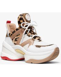 Michael Kors Sneaker Olympia aus Kalbshaar mit Leopardenmuster und Leder - Weiß