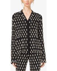 Michael Kors Gem-embroidered Paisley Georgette Pyjama Shirt - Black