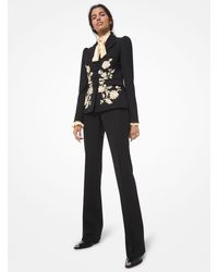 Michael Kors Floral Embroidered Wool Gabardine Blazer - Black