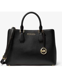 Michael Kors Camille Large Pebbled Leather Satchel - Nero