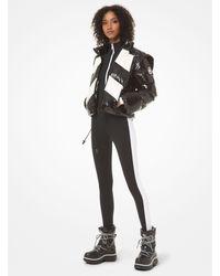 Michael Kors Color-Block Ciré Hooded Puffer Jacket - Weiß