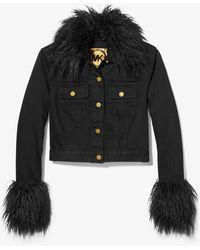 Michael Kors Faux Fur Trim Cropped Denim Jacket - Black