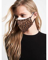 Michael Kors Leopard Stretch Cotton Unisex Face Mask - Brown