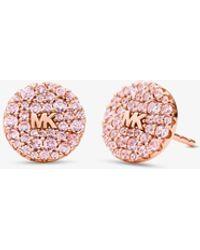 Michael Kors Orecchini a bottone in argento sterling placcato oro rosa 14K con pavé colorati