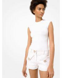 Michael Kors Stretch-viscose Cap-sleeve Bodysuit - White