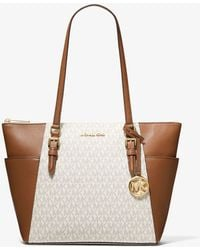 Michael Kors Charlotte Large Logo And Leather Top-zip Tote Bag - Multicolour