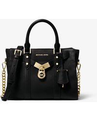 Michael Kors Nouveau Hamilton Large Satchel Bag Black