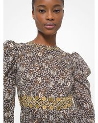 Michael Kors Embellished Paisley Cotton Lawn Puff-sleeve Dress - Multicolour