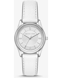 Michael Kors - Colette Silver-tone And Leather Watch - Lyst