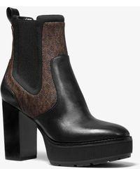 Michael Kors Cramer Logo And Leather Platform Boot - Brown
