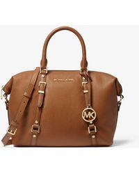 Michael Kors Bedford Legacy Medium Pebbled Leather Convertible Satchel - Brown