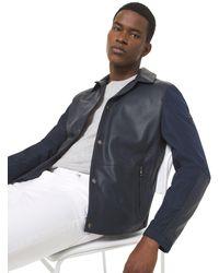 Michael Kors Veste en cuir contrecollé et perforé - Bleu