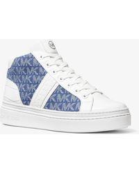 Michael Kors Chapman Logo Jacquard And Crocodile Embossed Leather High-top Sneaker - Blue