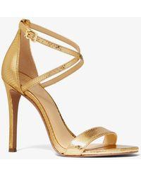 Michael Kors Antonia Metallic Python Embossed Leather Sandal